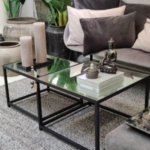 Glass coffee table // sæt med to